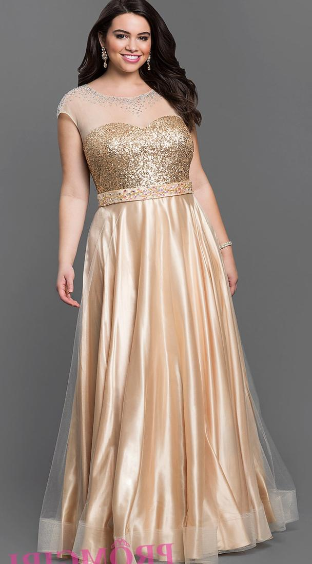 Plus size gold prom dresses collection for Plus size wedding party dresses