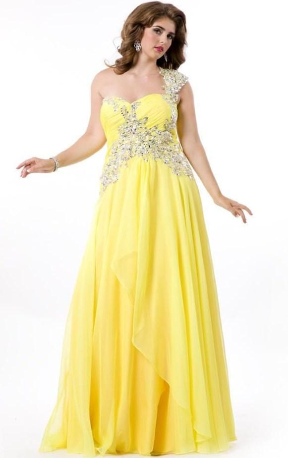 Empire Yellow Chiffon Long Plus Size Prom Dresses Sexy V Neck And Beaded Broad Shoulder Straps Plus Size Special Occasion Gowns Summer 2017 Beautiful