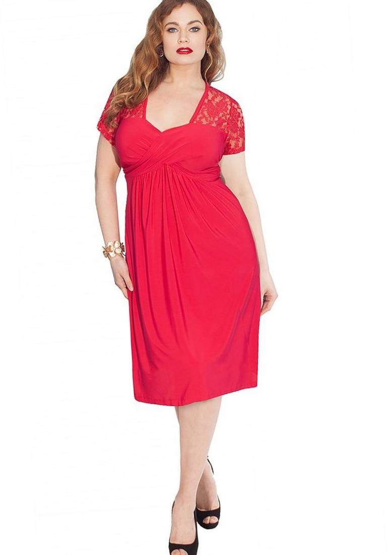 Red long dress plus size yellow