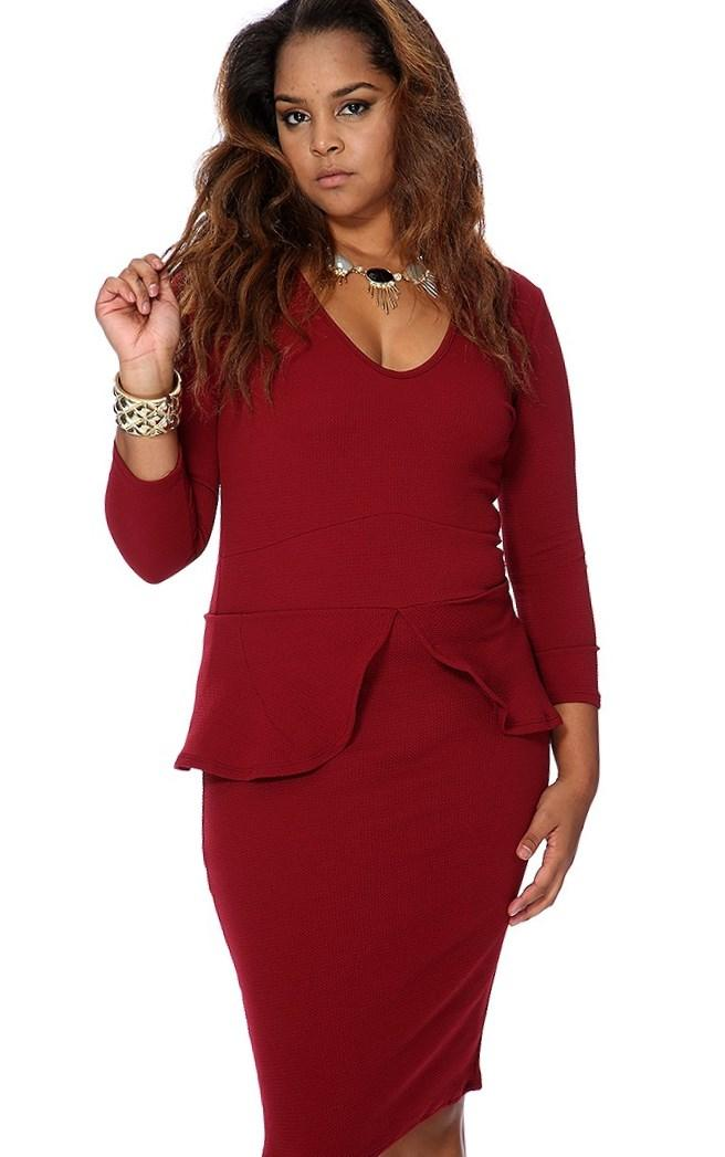 Long sleeve plus size peplum dresses
