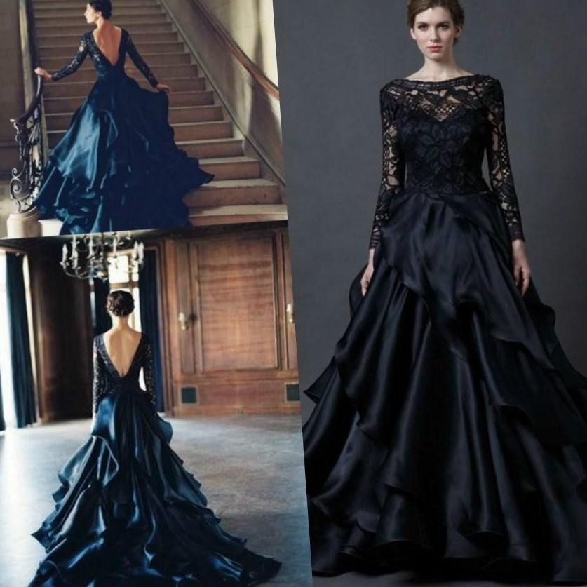 Black plus size wedding dress collection for Black and white wedding dresses with sleeves