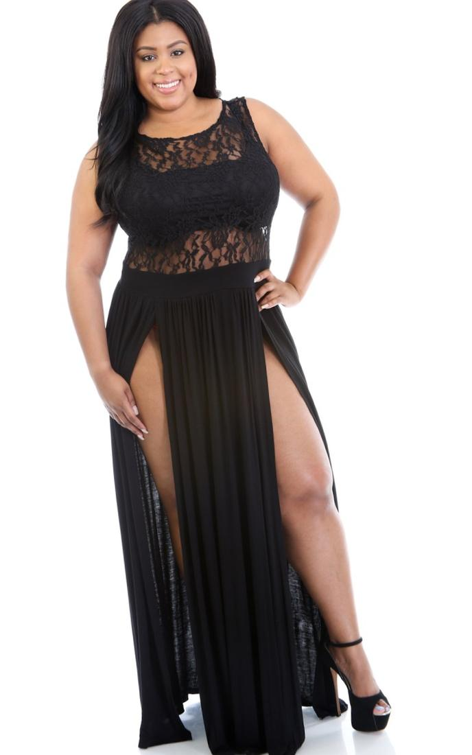 new 2018 summer dress Sexy Black Plus Size Reign lace Maxi Dress LC60372 women work casual