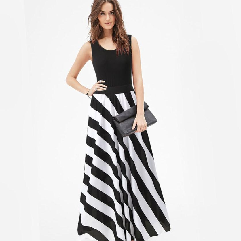 Plus size black and white striped dress