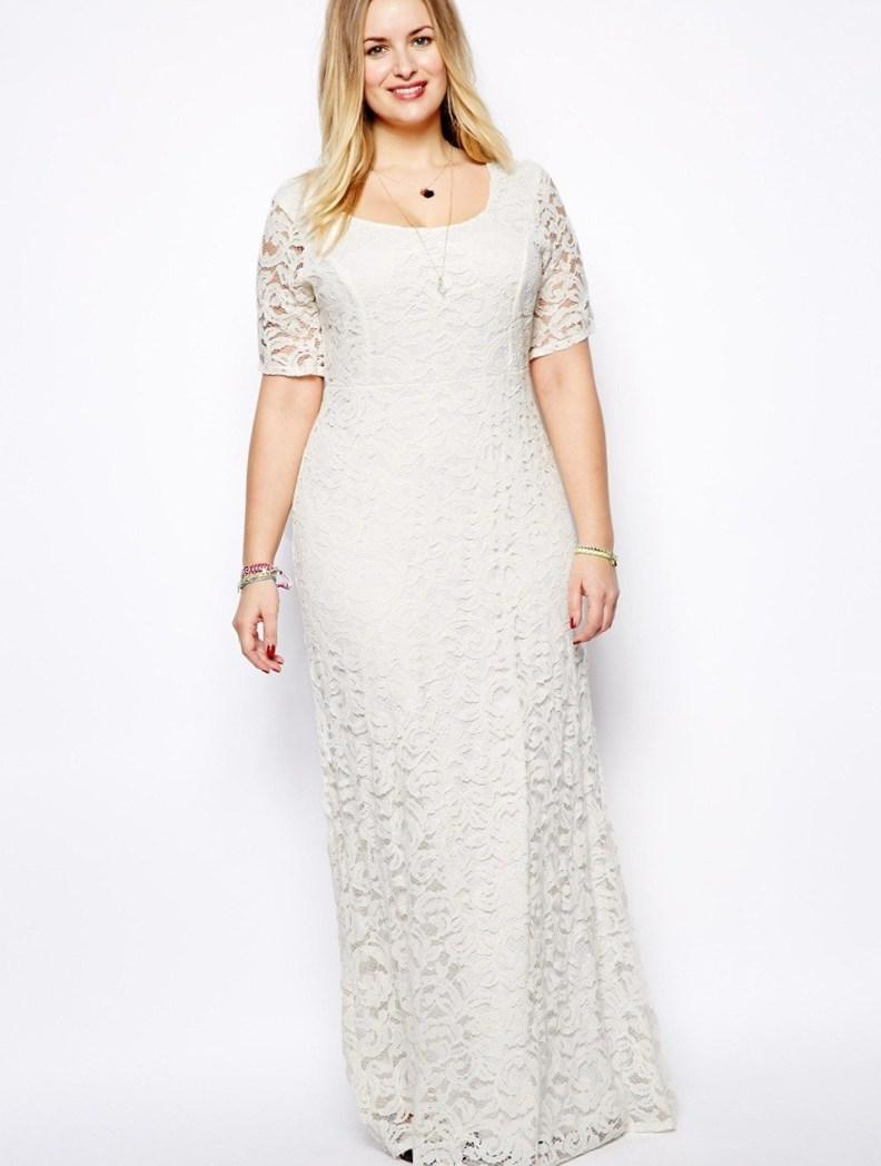 Women Summer Long dresses 2018 White Lace Trumpet Dress with sleeves Floor Length Chiffon Plus Size