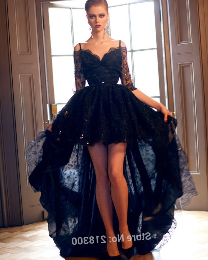 Off the Shoulder Black Lace High Low Prom Dresses Three Quarter Sleeves Evening Dresses