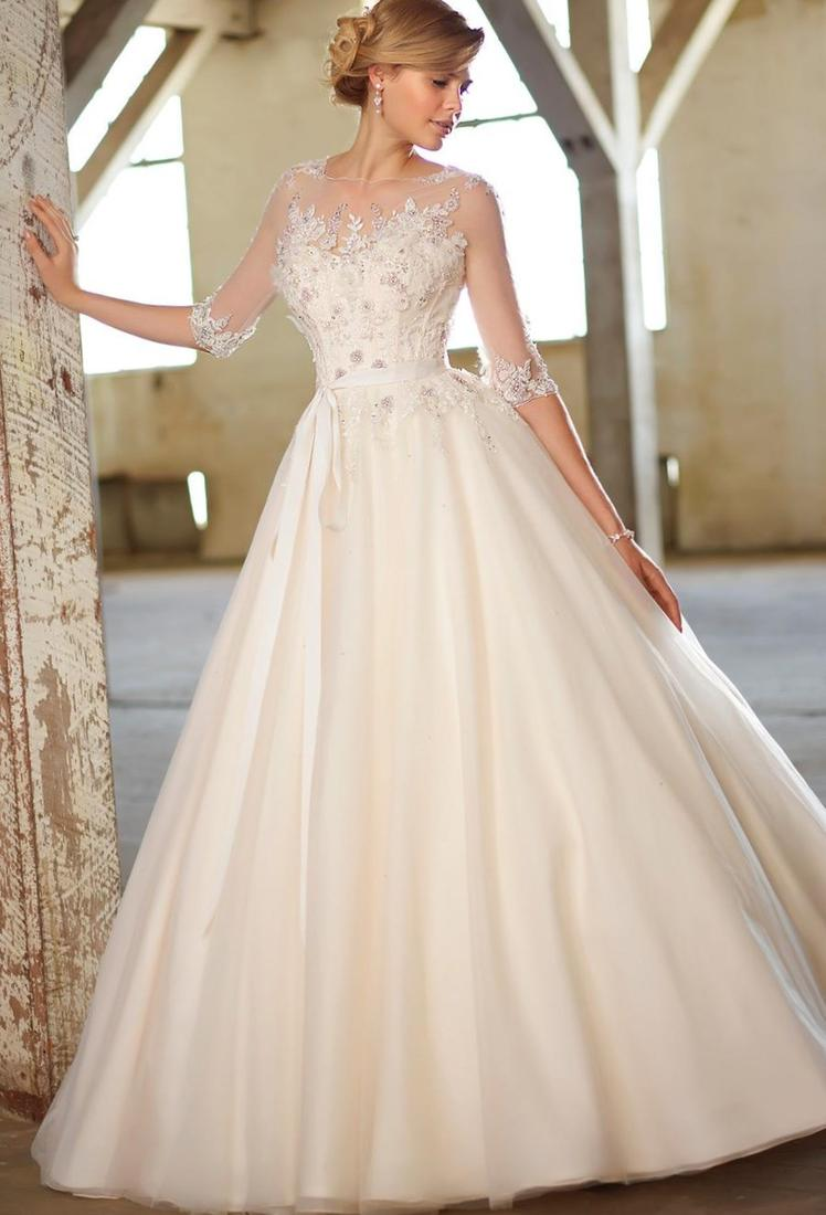 2017 Vintage Sheer Backless Ball Gown Wedding Dresses Sweetheart Crystal Beads Tulle Plus Size 2017 vestidos Fall Winter Bridal Gowns BO5998