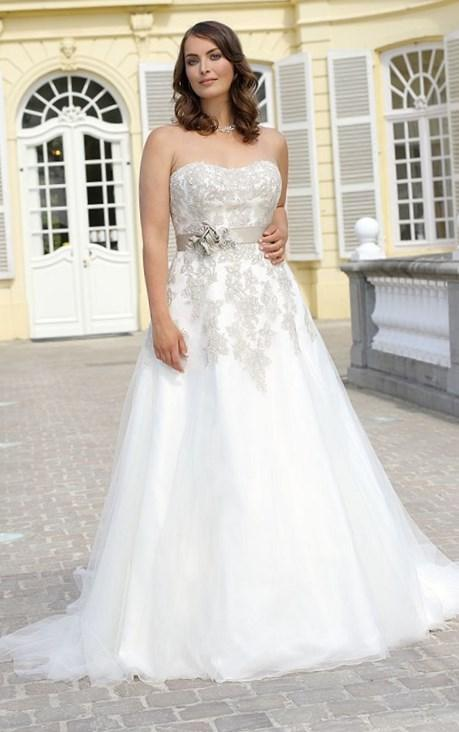 New Design Blue Mermaid Sheer Neckline Embelished With Appliques Tulle David Tutera Wedding Dress 2017 Bridal Dress Plus Size