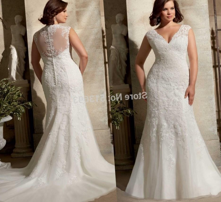 Elegant Cap Sleeves Bridal Gown Sheer Back Organza Plus Size Wedding Dresses 2017 Lace