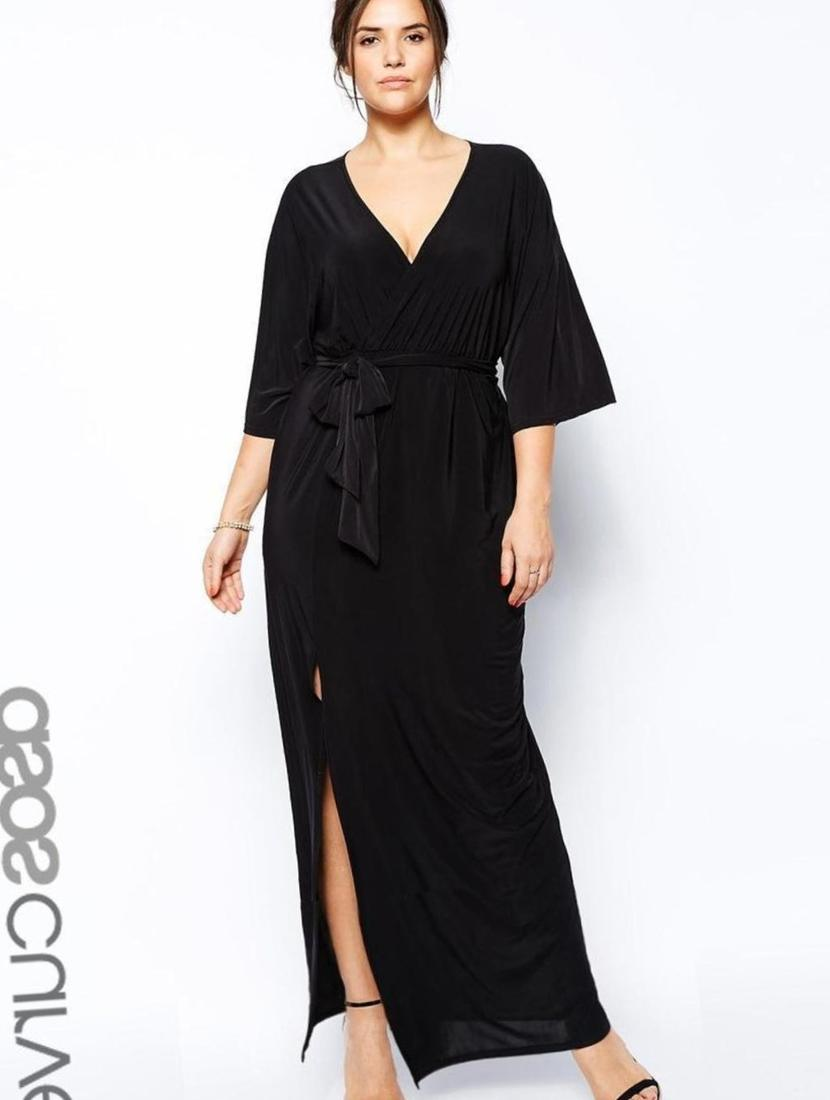 plus size kimono maxi dress - pluslook.eu collection