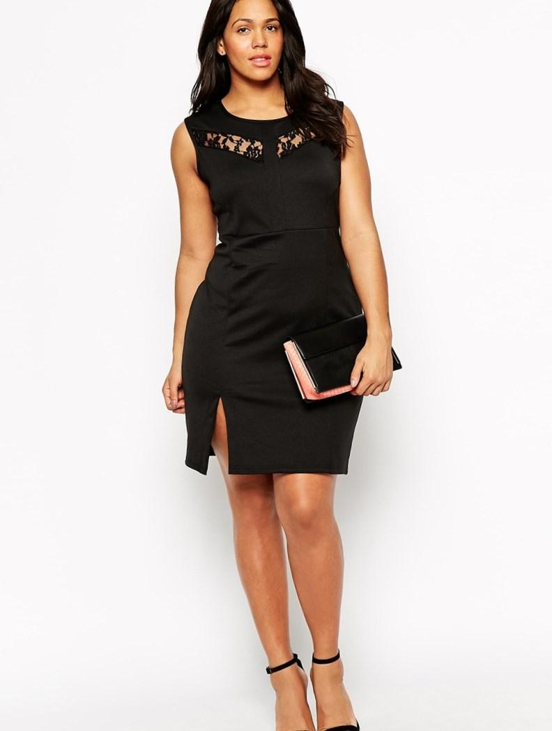 Image 1 of Club L Plus Size Bodycon Dress With Lace Insert