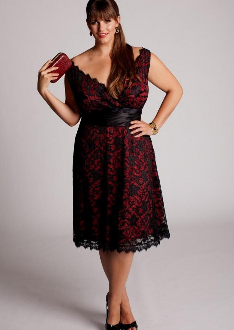 Red cherry blossom plus size black mandarin collar flower sheath dress