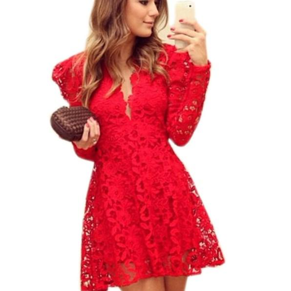 Fashion design sexy red lace dress women plus size party dress with black lace overlays for