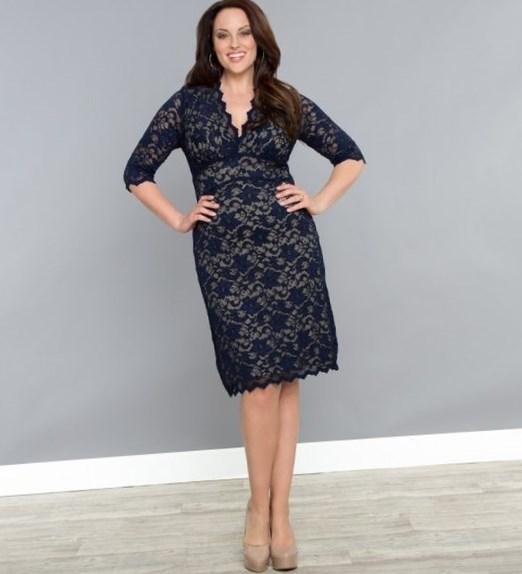 3/4 Sleeved Scalloped Boudoir Lace Plus Size Cocktail Dress by Kiyonna: Boudoir Lace