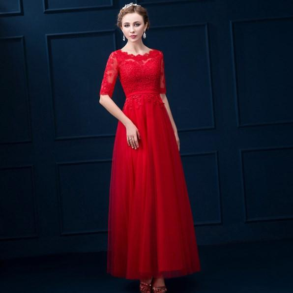 Sexy Plus Size Dresses Evening Wear 2018 V Neck Sheer Long Sleeves Red Lace Chiffon Draped