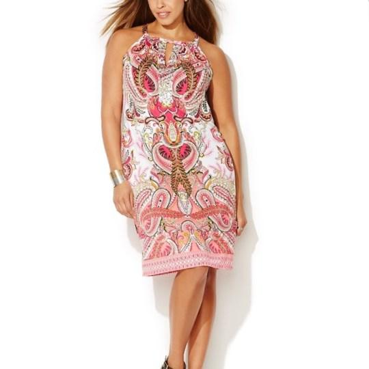 Inc international concepts Plus Size Sleeveless Printed A-Line Dress in Red (Sunset Flower) | Lyst