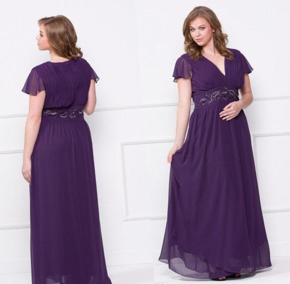 Plus size bridesmaid dresses purple collection for Purple plus size dresses for weddings