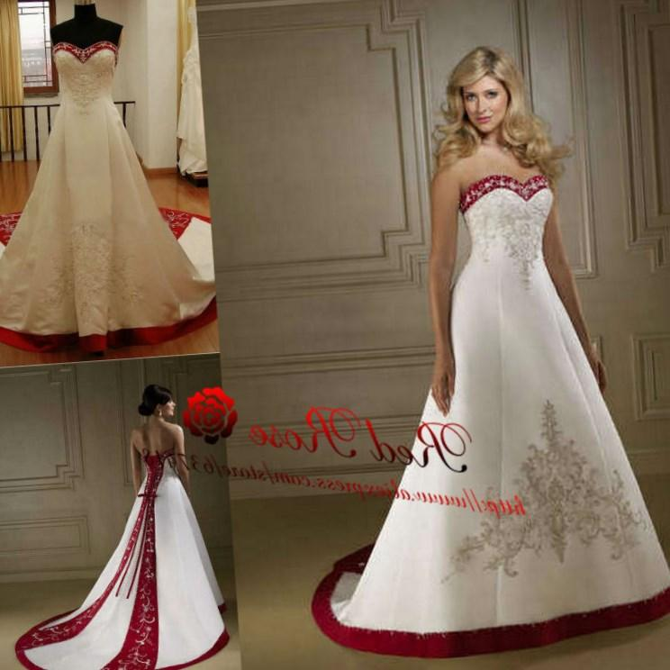 Wedding Dresses Plus Size. Embroidery Red White Satin
