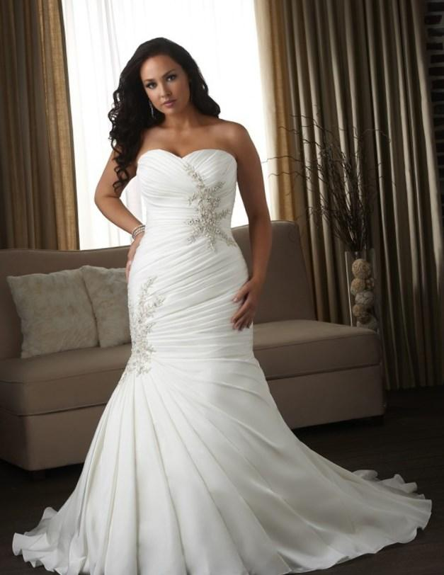 Top Online Sweetheart Sleeveless Strapless Lace Plus Size Mermaid Wedding Dress 2017 Bridal Gowns