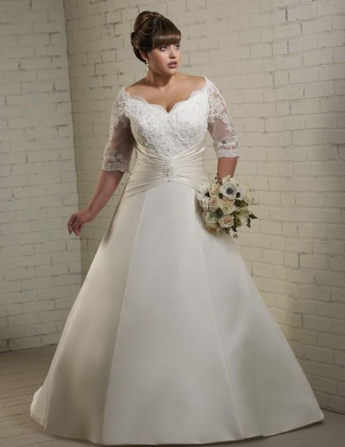 Off the shoulder plus size wedding dresses for Plus size beaded wedding dresses