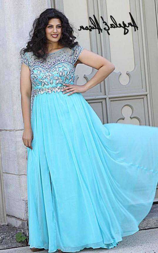 Top Online A-line Sweetheart Sleeveless Bust Crystal Beaded Chiffon Plus Size Prom Dresses Beautiful