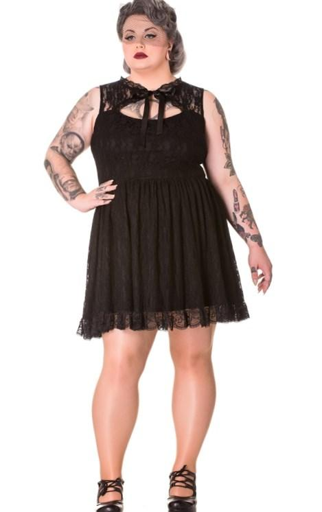 Plus Size Fashion Find: Black Gothic Lace Selena Rose Mini Dress From Mystic Crypt
