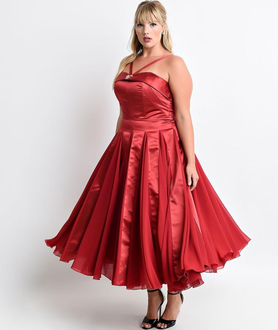 Red long sleeve plus size dress