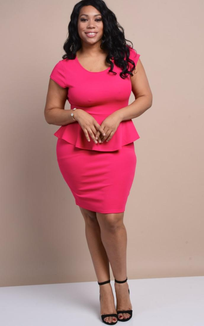 Plus Size Red Peplum Dress Pluslook Collection