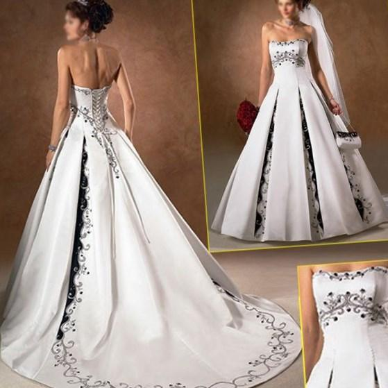 Ancient a-Line White Black Navy Blue Color Accent Bridal Wedding Dress, Custom Embroidery Wedding Gown