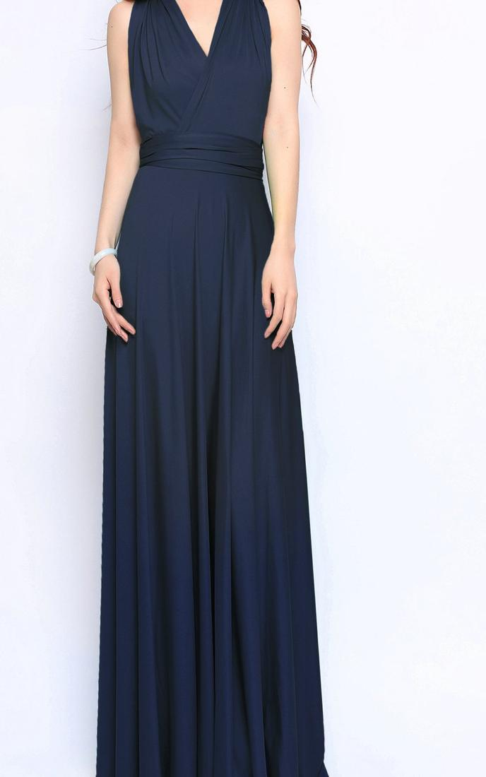 Navy And White Chiffon Maxi Dress With Sequin Detail