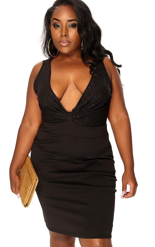 Sexy plus size black dress foto 32