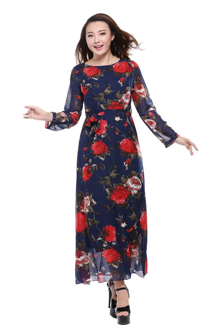 Plus Size Dresses Chiffion Maxi Print Ankle Length Printed Dress Vintage Style Full Sleeve Long Dress