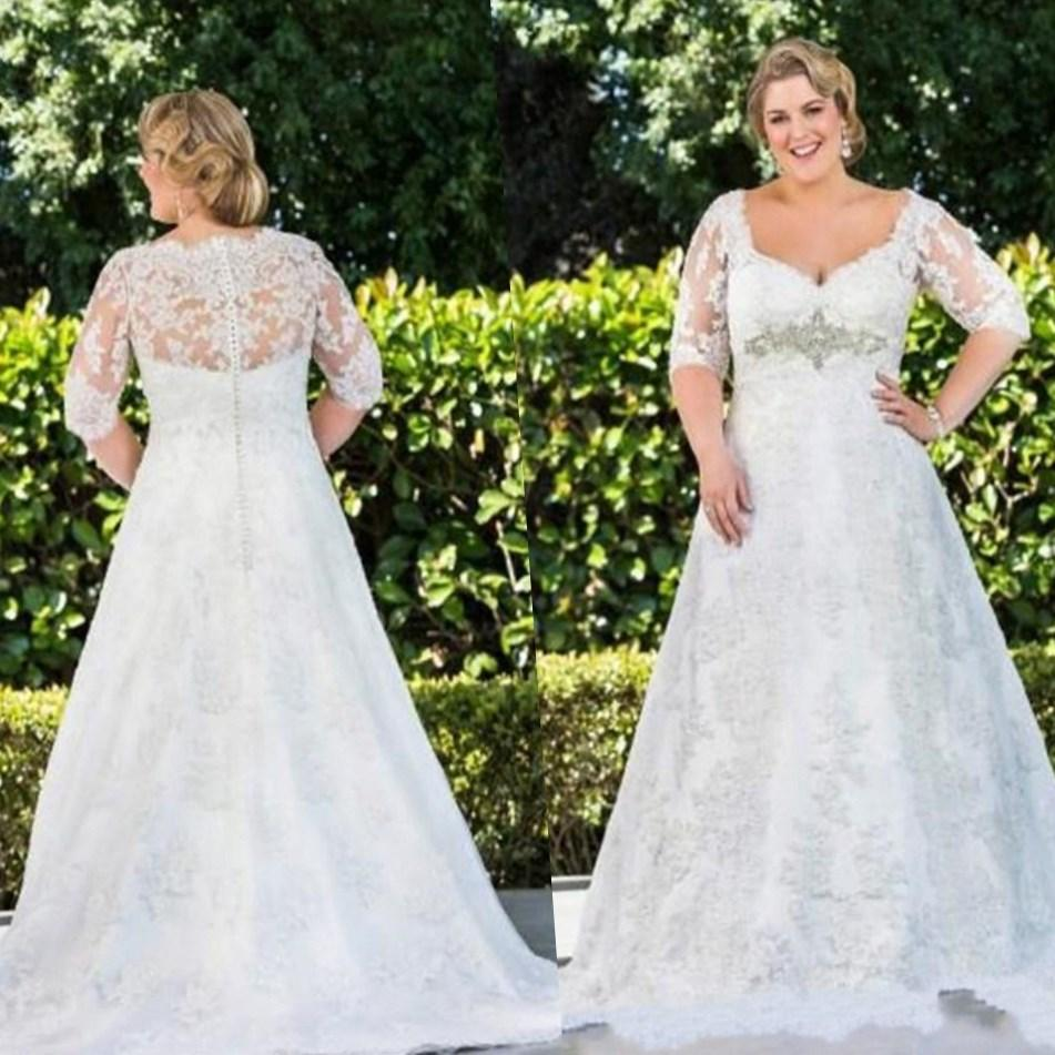 Plus size lace sleeve wedding dress collection for Plus size wedding dresses with color and sleeves