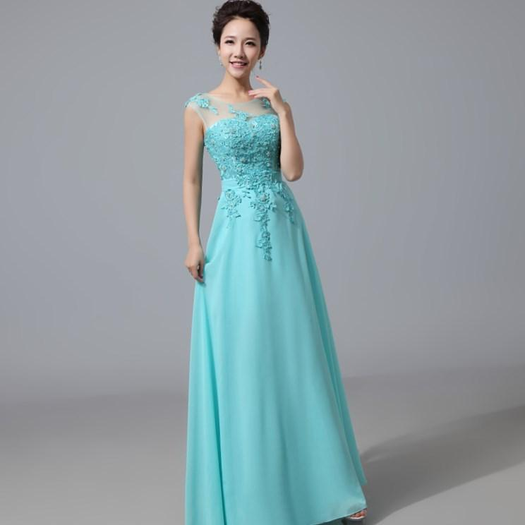 2016 Cyan Chiffon Cap Sleeve Formal Prom Dresses Party Bridesmaid Evening Gown. cheap ball gown dress ball gowns under 50