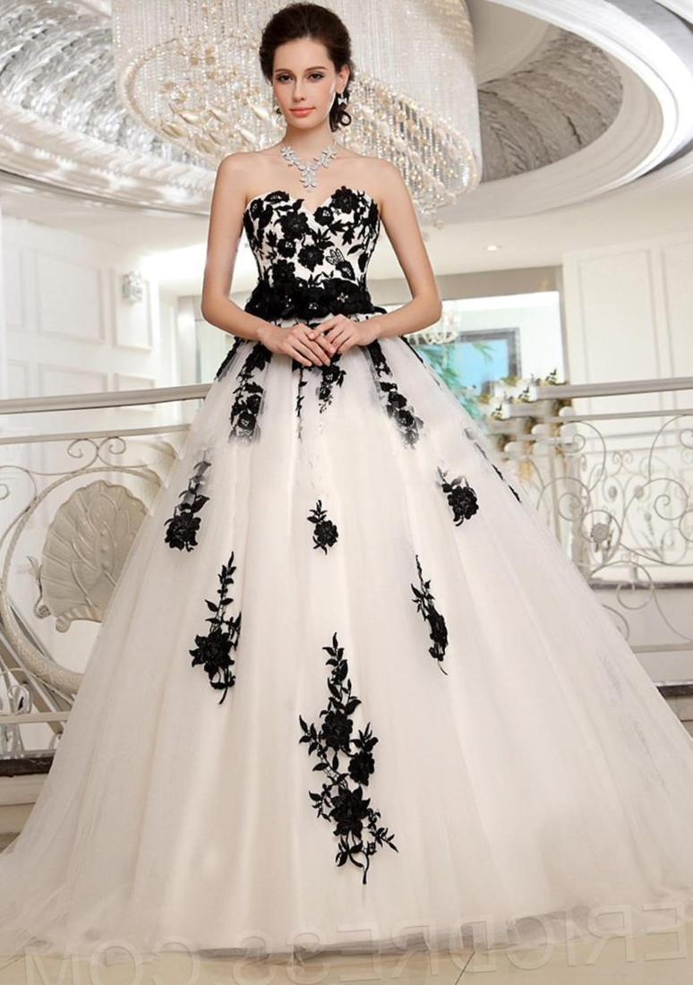 Romantic Plus Size Black and White Wedding Dresses 2017 Bride Dresses Gown robe de mariage gelinlik