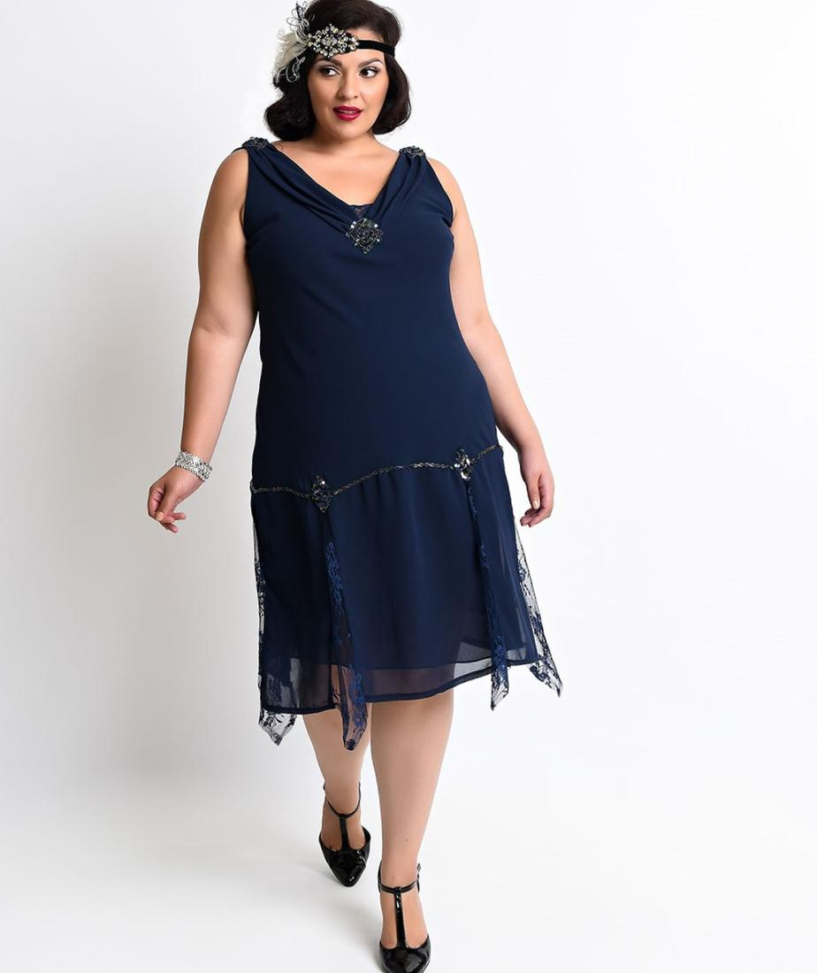 Preorder - Unique Vintage Plus Size 1950s Navy Floral Darcy Swing Dress $138.00 AT vintagedancer.