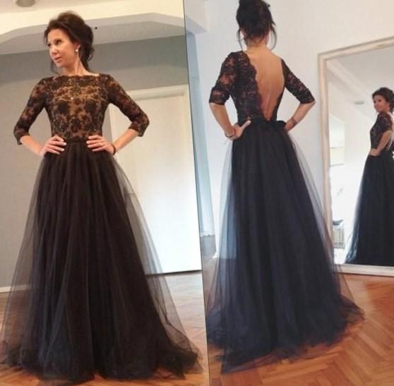Black Lace Long Sleeves Prom Dresses 2018 Backless Plus Size Beaded Tulle A Line Pageant Dresses