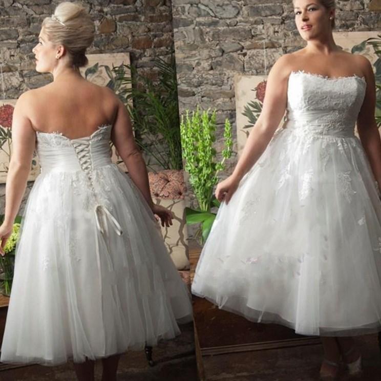 Plus size wedding dresses tea length collection for Plus size tea length wedding dresses with sleeves