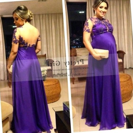 2017 New Elegant Purple Long Chiffon Plus Size Evening Dress Sheer Scoop See Through Back Formal Pregnant Maternity Prom Dress
