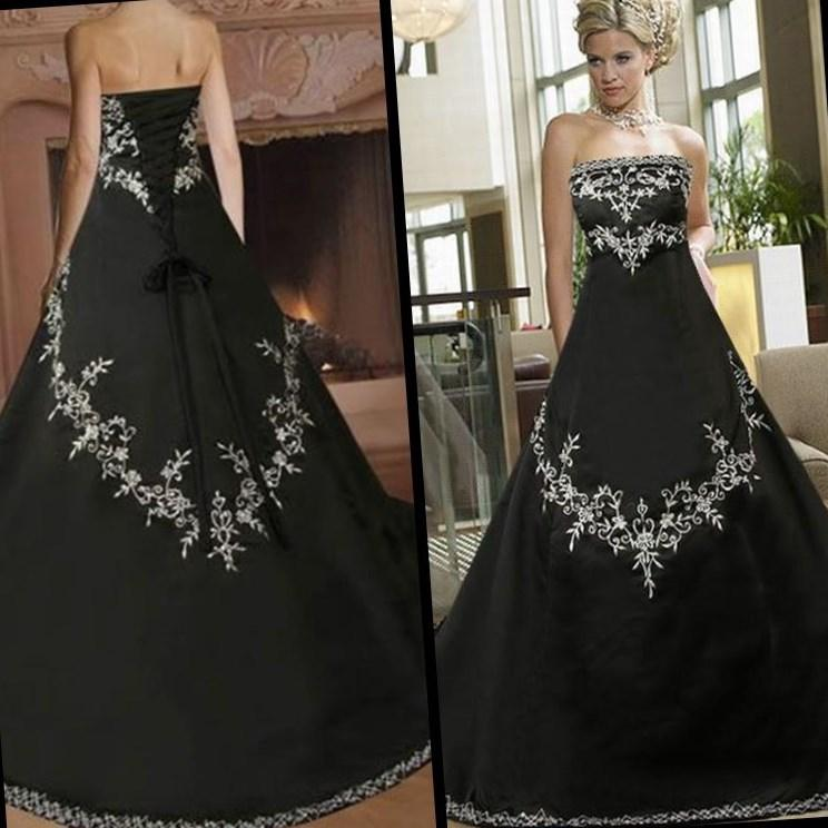 Black And White Gothic Wedding Dress Plus Size Satin Embroidery Garden  Wedding Bridal Dresses Lace Up