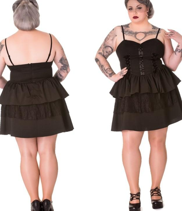 Spin Doctor Plus Size Corset Dress, Black Gothic Azrael