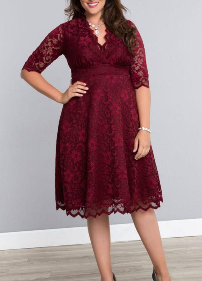 The Vamp Dress in Red with Black Dots - Plus Size