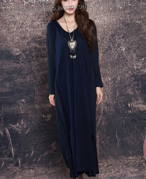 Dark blue maxi dress plus size
