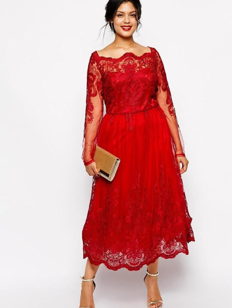 Plus size red dress with sleeves