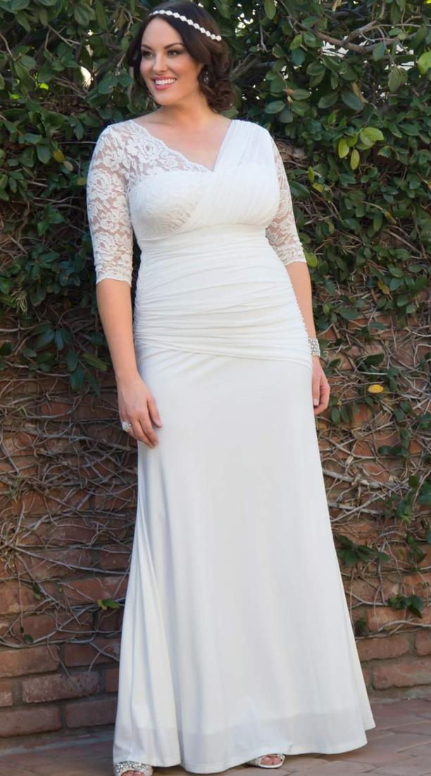 White plus size wedding dress collection for Long sleeve plus size wedding dress