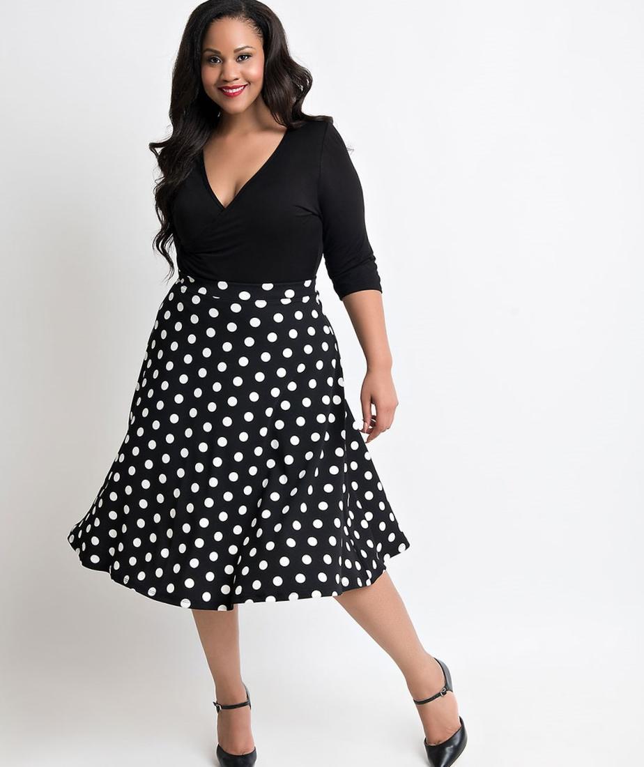 plus size black and white polka dot dress - pluslook.eu collection