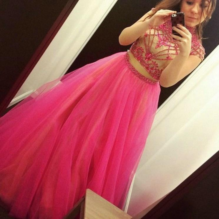Royal Blue Hot Pink Purple Turquoise Tulle 2 Piece Prom Dresses High Neck Sleeveless A-