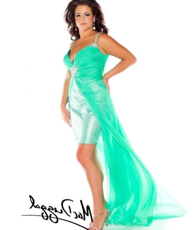 Plus Size High Low Prom Dress With Double Stone Strap And Stone Waist Ruffled Chiffon USD