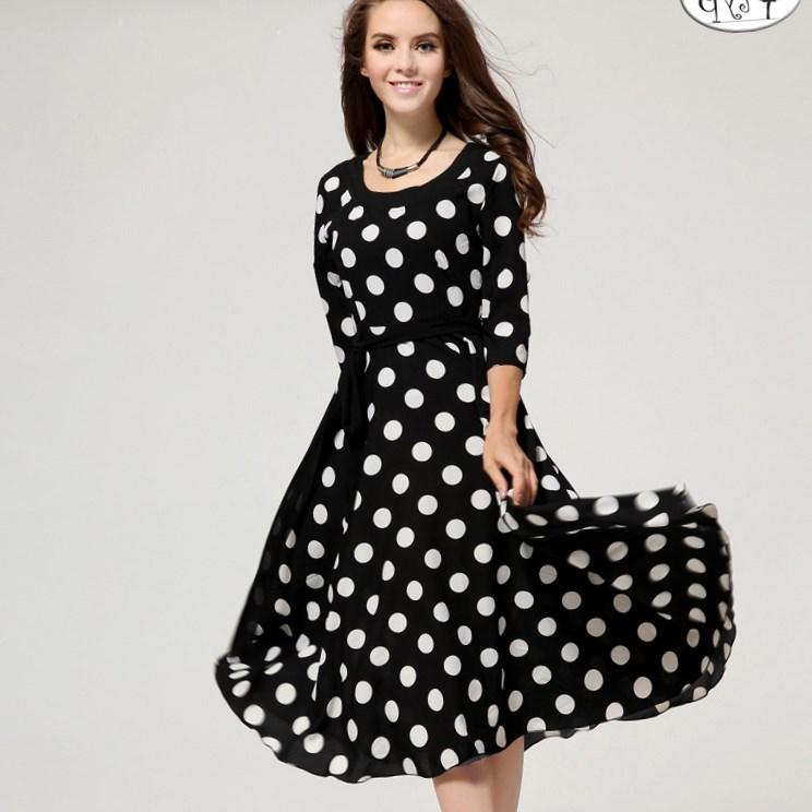 Polka Dot Plus Size Dress Nurufunicaasl