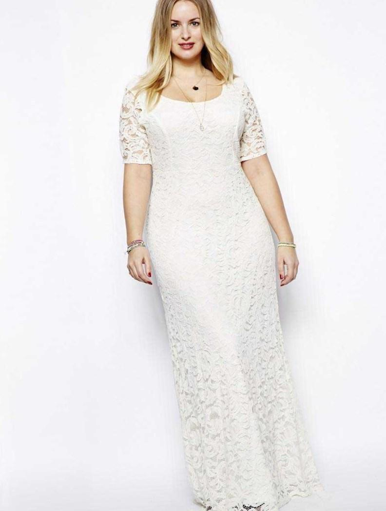 Long White Summer Dress Plus Size Pluslook Collection