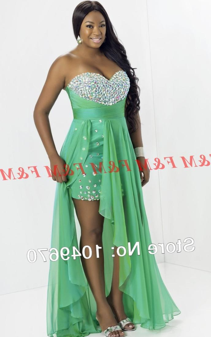 2017 Short Front Long Back Lime Green Sweetheart Crystal Chiffon High Low Prom Dresses For Plus Size Dress FM736